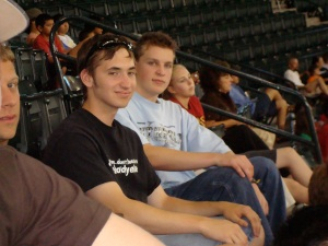 Tim (left) with Brandon at the game