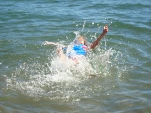 Halle practicing her backstroke!